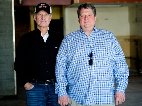 Mike Watson, left, and Jeff Tharp, Sa Za general manager, stand in a space inside the strip owned by Watson on the block of 1000 E. Fairview Avenue that they plan to make a second Sa Za.