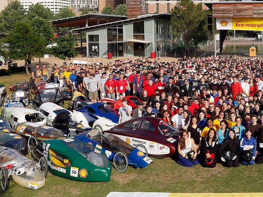 IMAGE DISTRIBUTED FOR SHELL - The students pose for a group shot before opening ceremonies during day 2 of the Shell Eco-marathon Americas 2014, Friday, April 25, 2014, at the George R. Brown Convention Center in Houston. (Patric Schneider/AP Images for Shell)