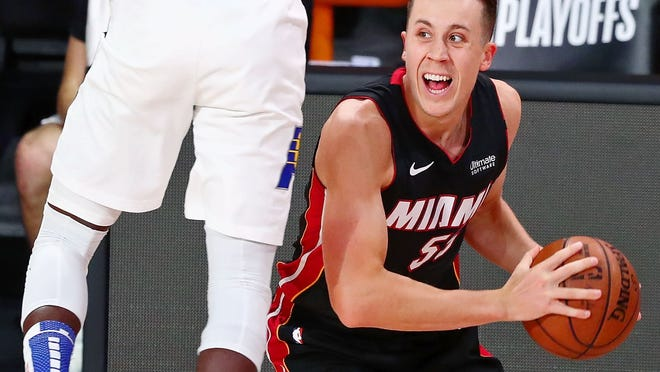 Heat guard Duncan Robinson began his college career in Willliamstown, Massachusetts. Visit www.telegram.com/sports for coverage of Wednesday's Game 4 between the Cetlics and Heat.