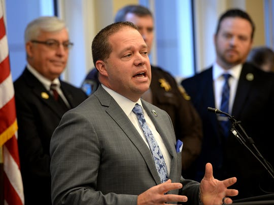 Rochester Hills Mayor Bryan Barnett speaks at a news conference in 2016 at the Michigan Municipal League's office in Lansing.