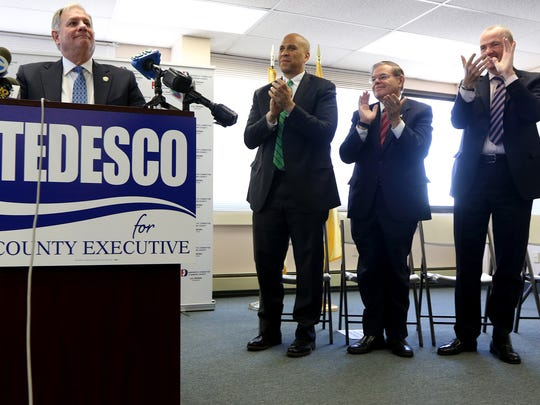 Bergen County Executive, Jim Tedesco, got a standing ovation from everyone in attendance, including senators, Cory Booker and Bob Menendez as well as Governor Phil Murphy, as he announced his run for re-election at the  Democratic Committee of Bergen County in Hackensack, Monday, February 5, 2018.