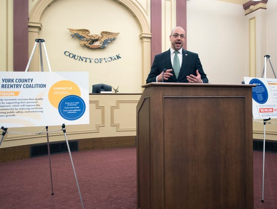 In this file photo from April 24, 2018, York County District Attorney Dave Sunday speaks at a news conference.