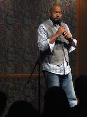 """Comedian Adrian """"Adee"""" Mccoy tells an anecdote during a comedy night fundraiser at Miracle Springs Resort and Spa on Sunday."""
