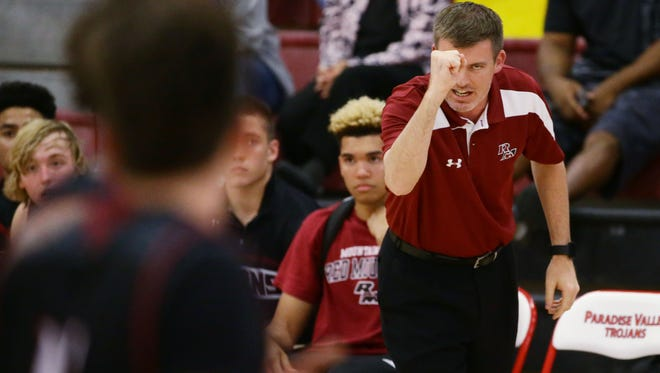 Red Mountain High coach Todd Fazio during Paradise Valley Thanksgiving Basketball tournament at Paradise Valley High School on Nov. 22, 2016 in Phoenix, Ariz.