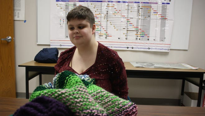 Aspen Poole, a 19-year-old senior at Vestal High School, is skilled at knitting and crafting.