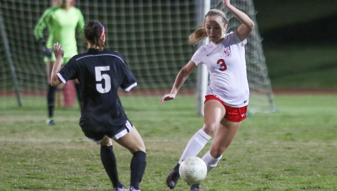Kaci Holliday of Palm Desert dribbles during their CIF quarterfinal victory over Western Christian, February 24, 2017.