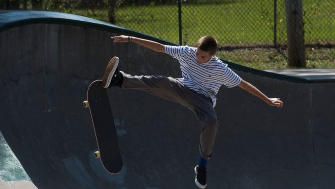 Collin Speranzi skates at the Steven Morgan Skate Park in Milton on Thursday, July 5, 2018. Milton City Councilman Jeff Snow wants the city to change its ordinance to allow bikes at the skate park.