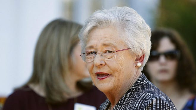 Alabama Gov. Kay Ivey speaks to the media in Montgomery in this 2017 file photo.
