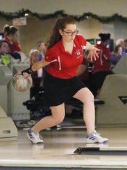 Westland John Glenn bowler Sarah Hayes rolls the ball