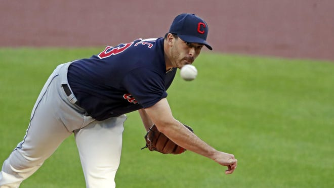 Cleveland Indians starting pitcher Aaron Civale delivers during the first inning of a baseball game against the Pittsburgh Pirates in Pittsburgh, Wednesday, Aug. 19, 2020.
