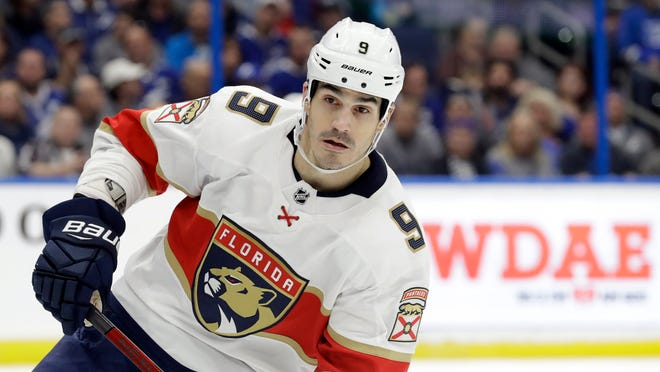 This Dec. 23, 2019 file photo shows Florida Panthers center Brian Boyle (9) during the second period of a game against the Tampa Bay Lightning in Tampa, Fla.  The predominantly white sport of hockey has a checkered history of racism and a culture of not standing out from the team or speaking out. The death of George Floyd in Minnesota has shattered that silence.