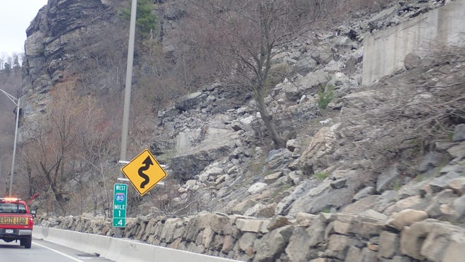 This file photo shows one area of the planned rockfall mitigation project proposed by New Jersey Department of Transportation. The plan would cut back the cliffs to about even with the concrete structures, but not widen Interstate 80 or address the S-curve.