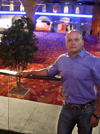 Reno developer Fernando Leal stands on the second flood that over look the now-Bundox Bocce recreation floor. At the time, it was an empty casino floor of the Siena on August 13, 2015.