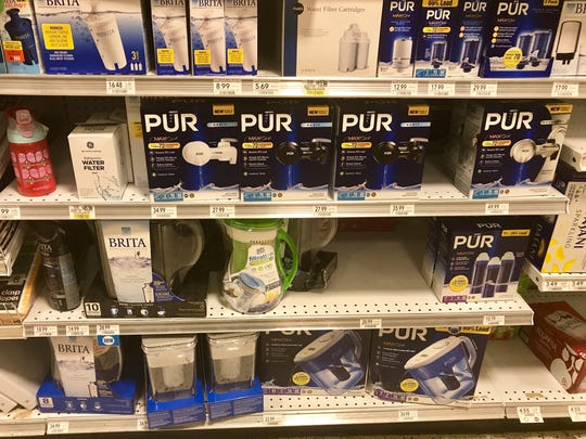 Water aisles were bare Wednesday but water filtration systems were still available.