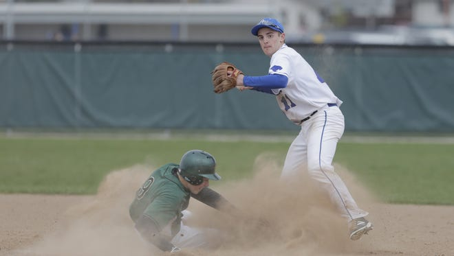Oshkosh West's Ben Kohl looks to fire a throw to first base to complete a double play after forcing out Oshkosh North's Kyle Waller in the first inning on Tuesday.