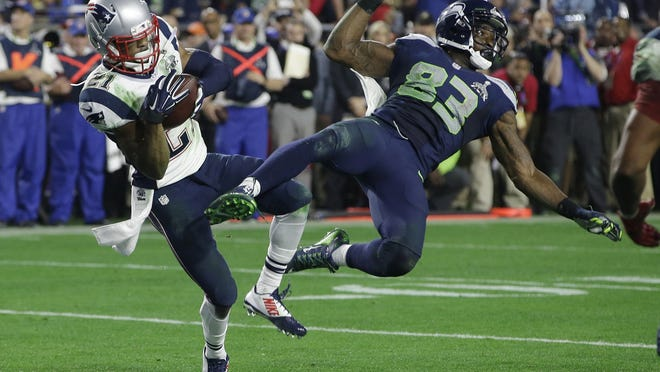New England Patriots defensive back Malcolm Butler, left, who intercepted a pass in the final moments of Super Bowl XLIX to help the Patriots win their fourth championship, was an undrafted free agent.