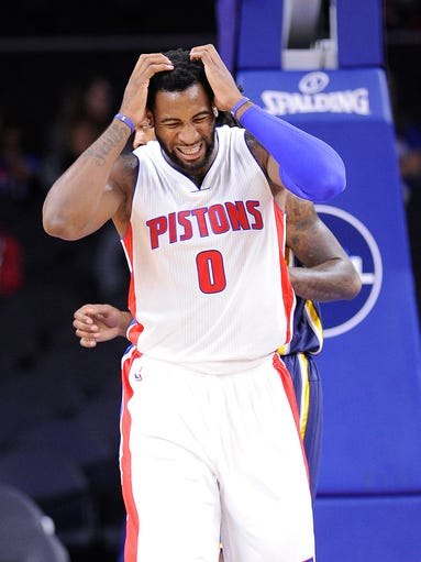 Pistons' Andre Drummond reacts to a turnover in the