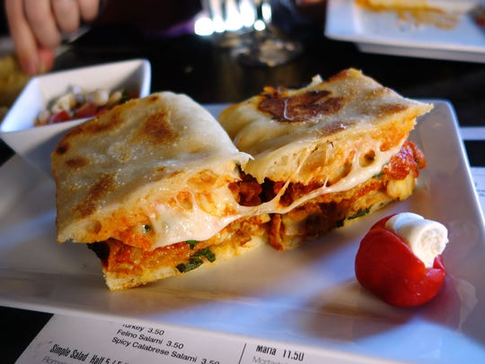 The eggplant parm sandwich, with fresh mozzarella,