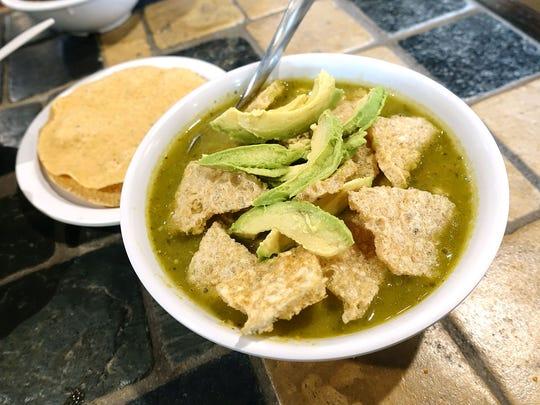 Pozole verde with pork rib, chicharrones and avocado