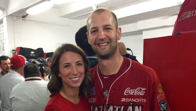 Former Owen baseball standout Steven Hensley and his wife, Ashley.