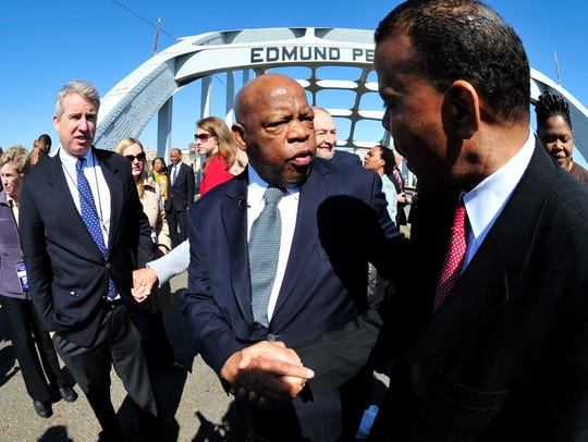 U.S. Rep. John Lewis, D-Ga., is greeted by a well-wisher