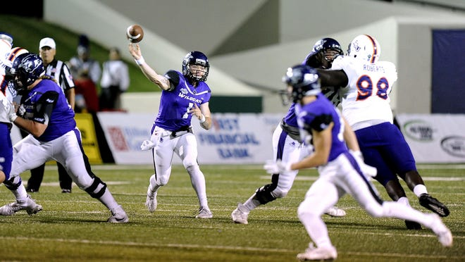 Abilene Christian quarterback Dallas Sealey (1) throws a pass during the second quarter of the Wildcats' game on Saturday, Nov. 5, 2016, at Shotwell Stadium.