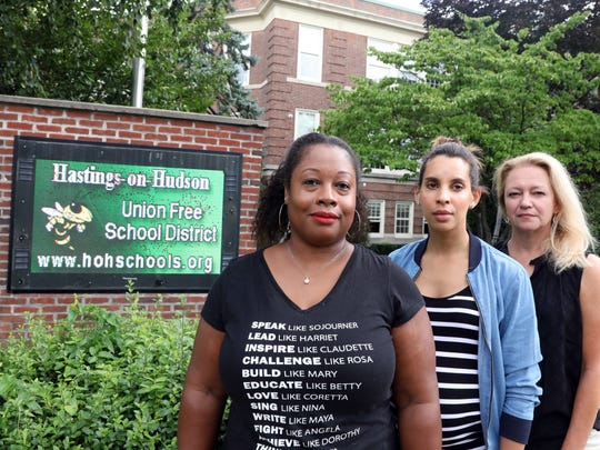 Race Matters committee co-founder Sonja Cherry-Paul, left, with members and fellow middle school teachers Erica Williams and Carolyn Denton July 24, 2018 outside Hastings schools. The Race Matters committee helps provide opportunities for teachers, students and parents to talk about race and racism issues in the Hastings district.