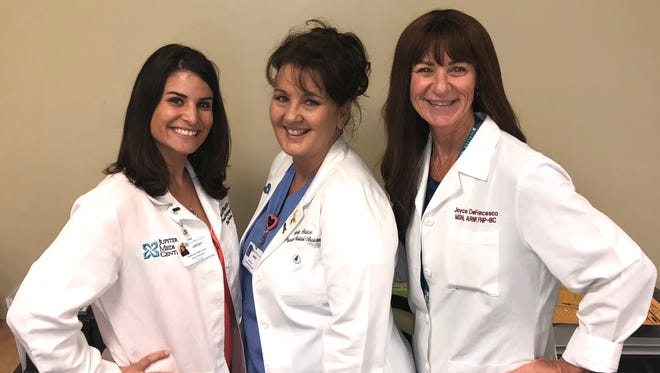 From left are Lindsay Silas, Advanced Registered Nurse Practitioner (ARNP), Sandy Brice and Joyce DiFrancesco, ARNP.