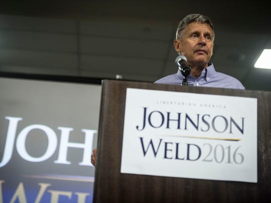 Libertarian candidate for president Gary Johnson speaks at the Sheraton Hotel in South Burlington Wednesday night.