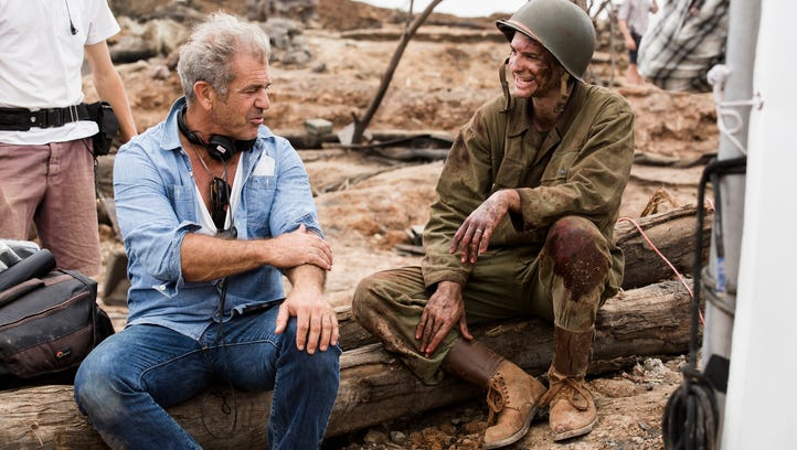 Mel Gibson and Andrew Garfield on the set of 'Hacksaw Ridge.'
