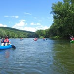 Kayakers paddle down the Susquehanna River in June with the Southern Tier Kayak Tours.