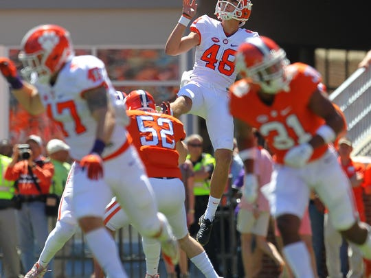 Clemson punter Will Spiers (48) during the Clemson's NCAA college football spring game at Memorial Stadium in Clemson, S.C. on Saturday, April 8, 2017.