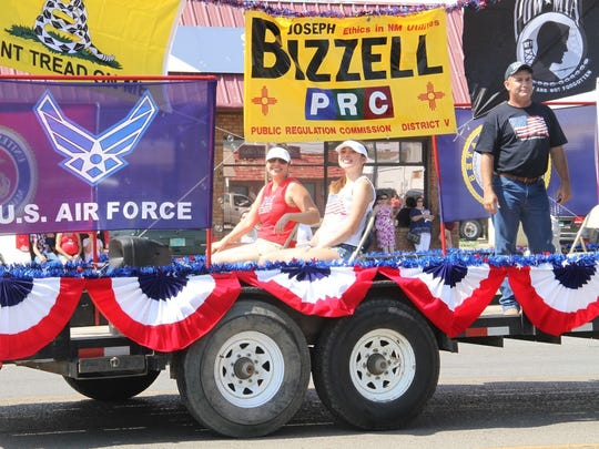 Joseph Bizzell participated in this year's Fourth of July parade in Alamogordo with his wife Andrea and daughter, Bella.
