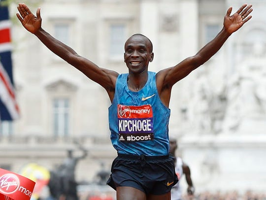 Eliud Kipchoge, shown here winning the 2015 London