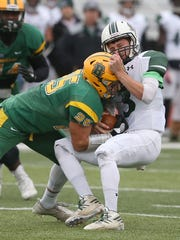 Brockport linebacker Julius Mizro sacks Plymouth State