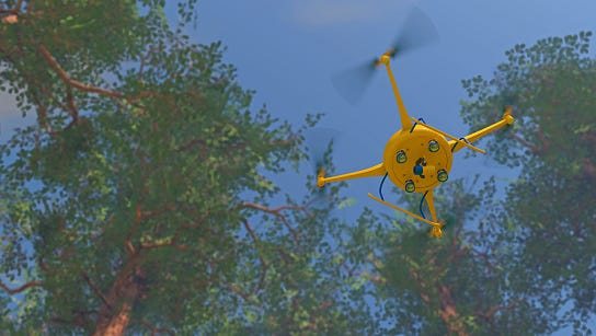 UAV drone surveying a forest