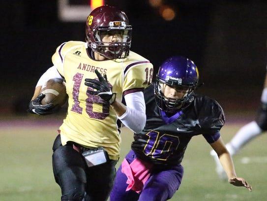 Andress wide receiver Antonio Gomez, 18, finds much
