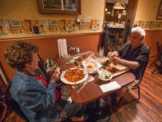 Rose and Jimmy Gambacorta enjoy crabs at Mrs. Robino's