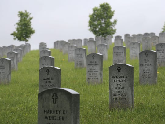 Rows of tombstones line the Veterans Honor section