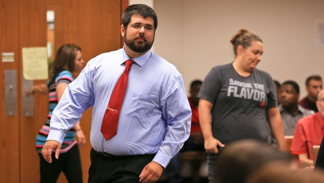 Matthew Heimbach, accused of harassing a Donald Trump protester during a 2016 rally in Louisville, appears in court in July.