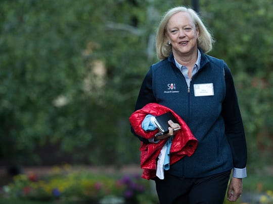 """Meg Whitman, chief executive officer of Hewlett Packard (HP), attends the annual Allen & Company Sun Valley Conference in Sun Valley, Idaho. The influential GOP donor revealed she will support Hillary Clinton for president, calling her rival Donald Trump's """"unsteady hand"""" an endangerment for the U.S."""