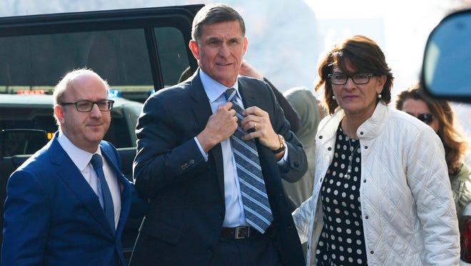 Former national security adviser Michael Flynn arrives at federal court on Dec. 1.