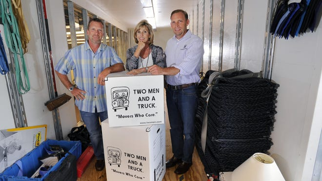 Siblings Jon Sorber, left, Melanie Bergeron and Brig Sorber run the moving company Two Men and a Truck. Bergeron, who became the company's president in 1994, recommends entrepreneurs join professional groups within their industry to grow a support network.