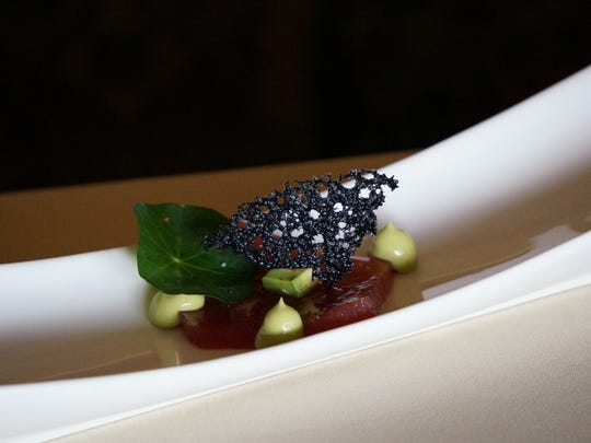 Delicate, creamy and fresh, the Bluefin Tuna Crudo is highlighted by a mild avocado and basil mousse at Sale e Pepe.