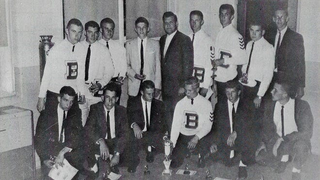 Bedford's Great Lakes League championship baseball team of 1963 was made up of (bottom row, left to right) Doug Kish, Bob VanDusen, John Shuey, Mike Scott, Gene Stock and Greg Smith; (top row) Dan Karpanty, Bob Fielder, Nick Snyder, Leo DeLangis, coach Jim Gasiorowski, Dick Scherer, Jim Jankow, Gary Meinhart and Mel Fultz.