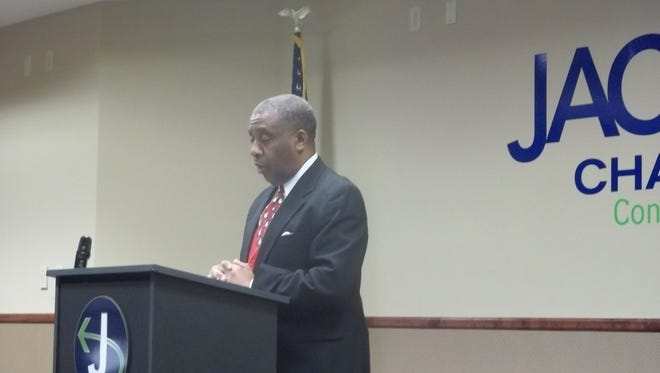 Dr. Jerry Woods speaks at a news conference announcing plans for the 100 Black Men of West Tennessee gala.