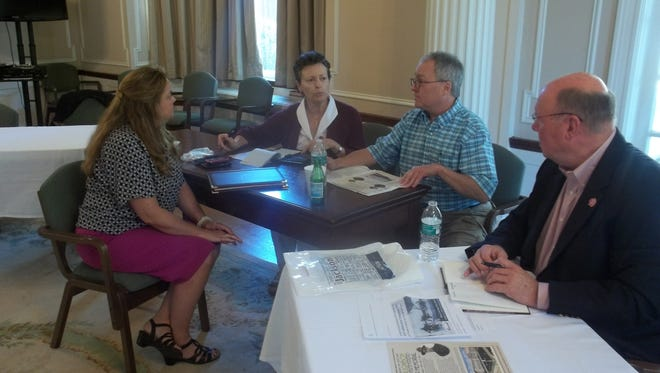 From left to right, Pall Mall Commissioner Deborah York, Jackson Commissioner Dr. Alice-Catherine Carls, Tennessee Great War Commission Chair Dr. Michael Birdwell, and Germantown Commissioner Andrew Pounley discuss plans to commemorate the 100th anniversary of World War 1.