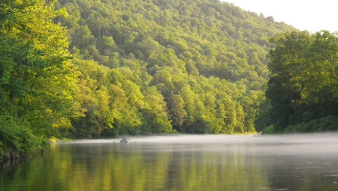 A boat does some drift fishing in the Catskills.