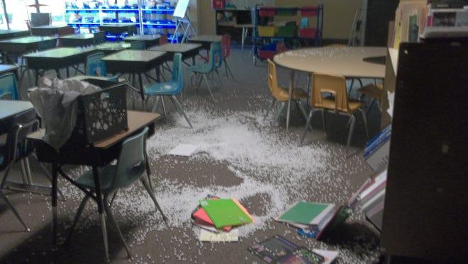 Damage to the inside of Jacob Shapiro School in Oshkosh following a burglary.