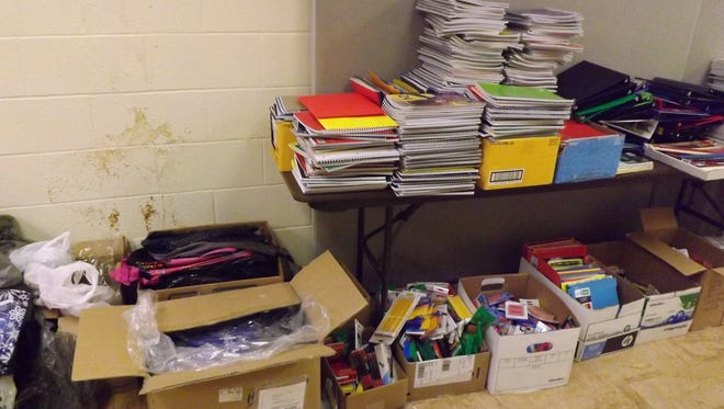 Donated school supplies help fill the hallway outside the Communities in Schools of Wayne County.